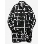 Patch Pocket Button Up Longline Grid Coat