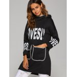Drop Shoulder Letter Print Pocket Design Hoodie deal