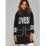 cheap Drop Shoulder Letter Print Pocket Design Hoodie