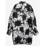 cheap Contrast Print Patch Pocket Longline Coat