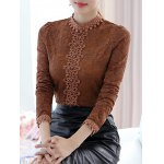 cheap Lace Floral Crochet Fleece Top