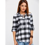 Lace Up Tartan Blouse for sale