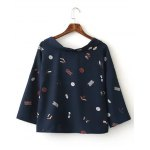 cheap Cartoon Printed Inclined Button Blouse