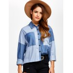 best Color Block Pockets Patched Chambray Shirt