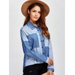 Color Block Pockets Patched Denim Shirt photo