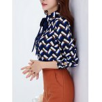 Pussy Bow Fleece Wave Striped Blouse for sale