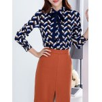 Pussy Bow Fleece Wave Striped Blouse deal