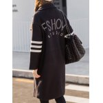 Wool Varsity Striped Graphic Longline Coat for sale