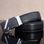 cheap Simple Embellished Paralleled Line Automatic Buckle Wide Belt