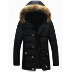 Button Pocket Zip Up Faux Fur Hooded Padded Jacket