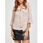 cheap Pussy Bow Bell Sleeves Ruffled Blouse