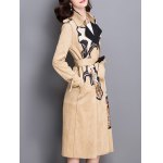cheap Sueded Patched Patterned Trench Coat