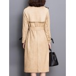 Sueded Patched Patterned Trench Coat for sale
