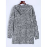 cheap Hooded Buttoned Fuzzy Knit Cardigan