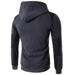 cheap Color Block PU Leather Splicing Design Hoodie