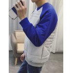 cheap Color Insert Crew Neck Padded Sweatshirt