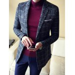 cheap Vintage Lapel Single Breasted Selvage Plaid Coat