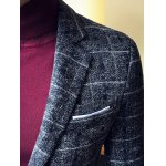 Vintage Lapel Single Breasted Selvage Plaid Coat for sale