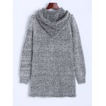 cheap Hooded Studded Fuzzy Knit Cardigan