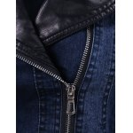 PU Leather Insert Denim Jacket for sale