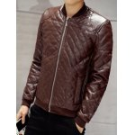 Zip Up Faux Leather Quilted Jacket deal