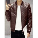 cheap Zip Up Faux Leather Quilted Jacket