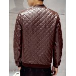 Zip Up Faux Leather Quilted Jacket for sale