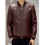 Zip Up Faux Leather Quilted Jacket 11027