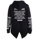 cheap Letter Print Longline Hoodie