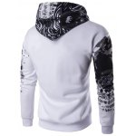 cheap Hooded Abstract Print Zip Up Hoodie