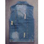 cheap Embroidered Scratched Pocket Ripped Denim Vest