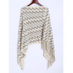 Zig Zag Fringed Asymmetrical Poncho Sweater for sale