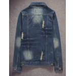 cheap Pocket Scratched Ripped Denim Jacket