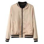 cheap Slim Star Embroidered Convertible Bomber Jacket