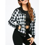 Button Up Plaid Bomber Jacket