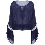 cheap Bell Sleeve Lace Insert Blouse