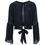 cheap Cut Out Tie Blouse