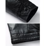 Pocket Stand Collar Faux Leather Padded Jacket photo