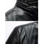 Pocket Stand Collar Faux Leather Padded Jacket deal