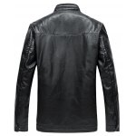 cheap Pocket Stand Collar Faux Leather Padded Jacket