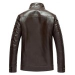 cheap Pocket Zip Up Flocking Faux Leather Jacket