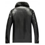 Detachable Faux Fur Collar Zippered PU Leather Flocking Jacket deal