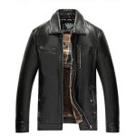 cheap Detachable Faux Fur Collar Zippered PU Leather Flocking Jacket