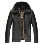 Detachable Faux Fur Collar Zippered PU Leather Flocking Jacket