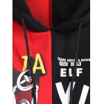 Drawstring Letter Print Contrast Hoodie deal