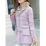 cheap Faux Fur Puffer Coat with Pockets
