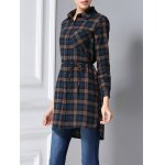 Belted Long Sleeve Plaid Shirt deal