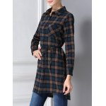 Belted Long Sleeve Plaid Shirt for sale