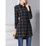 cheap Belted Long Sleeve Plaid Shirt