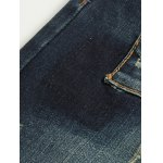 best Tapered Fit Zip Fly Applique Distressed Jeans